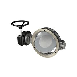 Metalltätad vridspjällsventil för inspänning mellan flänsar.
