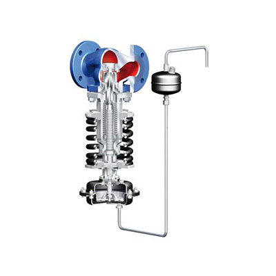 Industriell tryckreduceringsventil för vätska, gas och ånga.